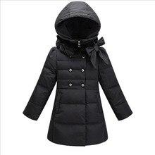 Длинный толстый бренд пуховик для девочек 2016 зима новый девушки зимнее пальто красавцы капюшоном меховой воротник луки молнии куртка утка вниз