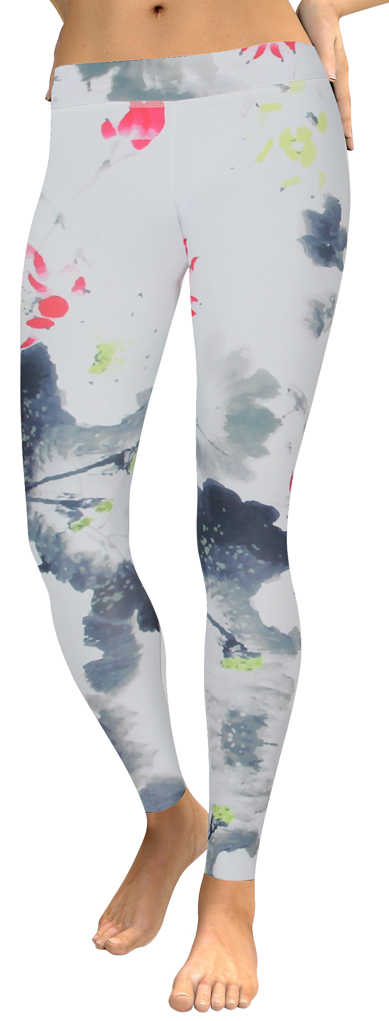 High waistband white ink watercolor legging (1)
