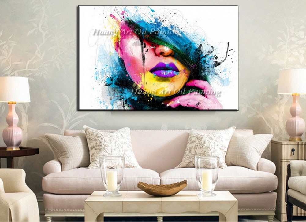 Superior Wall Art For Large Fashion Painting Canvas Women Face Picture Abstract  Figures Hand Painted Colorful Sexy Girl Oil Painting In Painting U0026  Calligraphy From ...