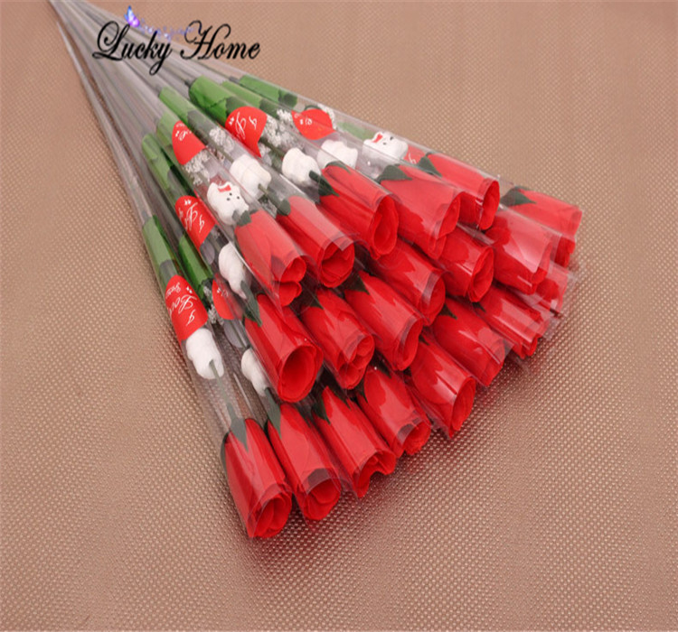 Artificial Flowers Red Rose For Valentines Day Gift Wedding Decoration Flowers Real Touch Home
