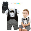 2015 New Baby rompers Newborn baby boy clothes gentleman dress suit short sleeve romper with bow tie baby clothing jumpsuit