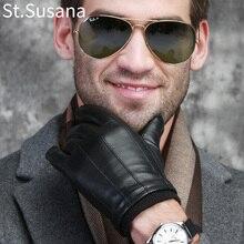St.Susana 2018 Autumn Winter Warm Gloves Genuine Sheepskin Leather Gloves Male Touch Screen Gloves Mittens Winter Gloves Male