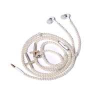 URIZONS Fashionable Jewelry Pearl Necklace Earphones with Mic 3.5mm In-ear Stereo Earphone Headset for Iphone Samsung OPPO Sport