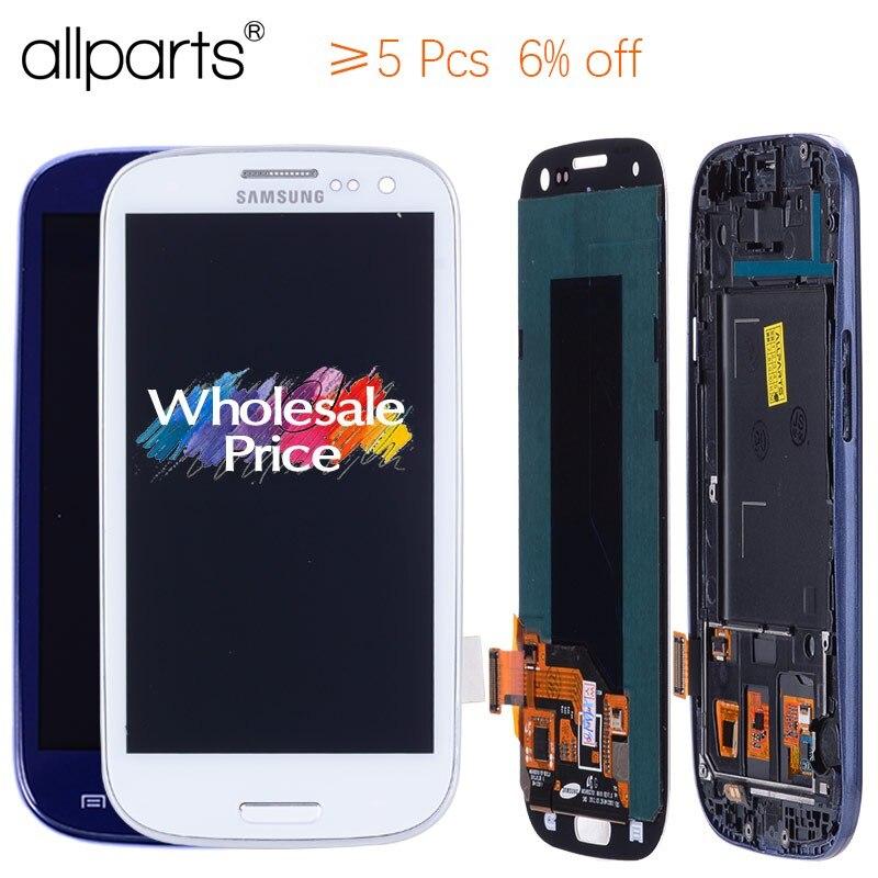 AA 4,8 ''i9300i i9300 pantalla para SAMSUNG Galaxy S3 pantalla LCD Asamblea con marco para SAMSUNG Galaxy S3 pantalla i9300 LCD