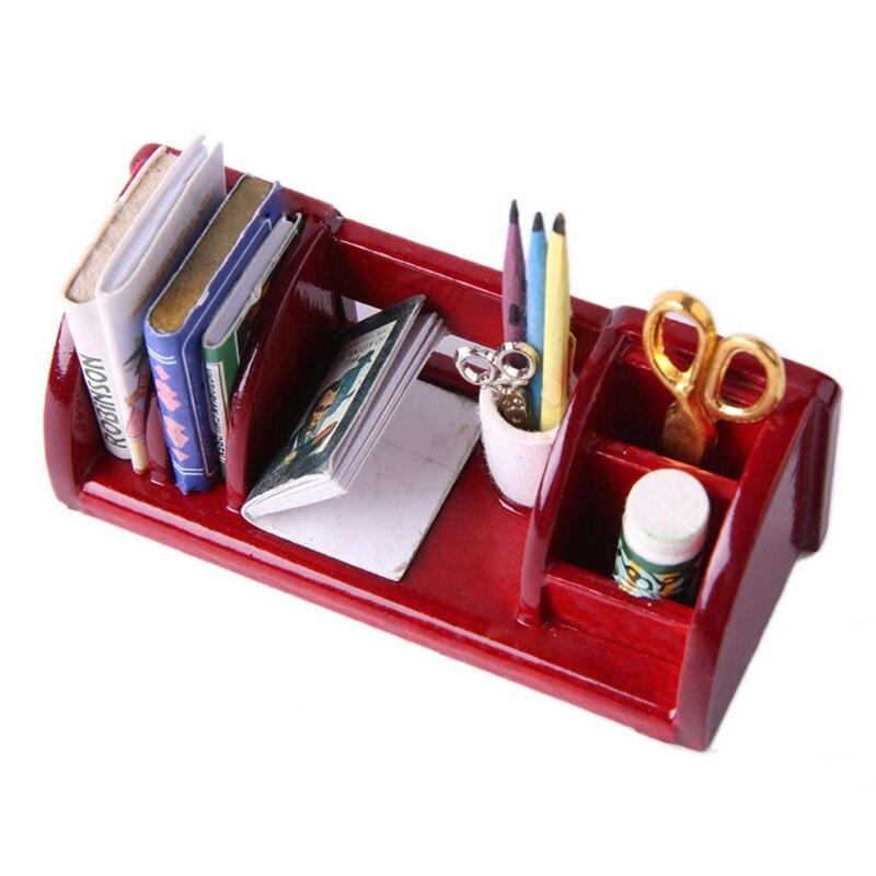 Cute 1:12 Dollhouse Miniature Furniture Book Shelf Study Room Table Organizer Rack DIY Decoration Ornament Gifts