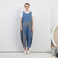 Оригинальный дизайн лето 2018 Новое поступление повседневные свободные длинные полосатые Лоскутные льняные джинсовые комбинезоны женские