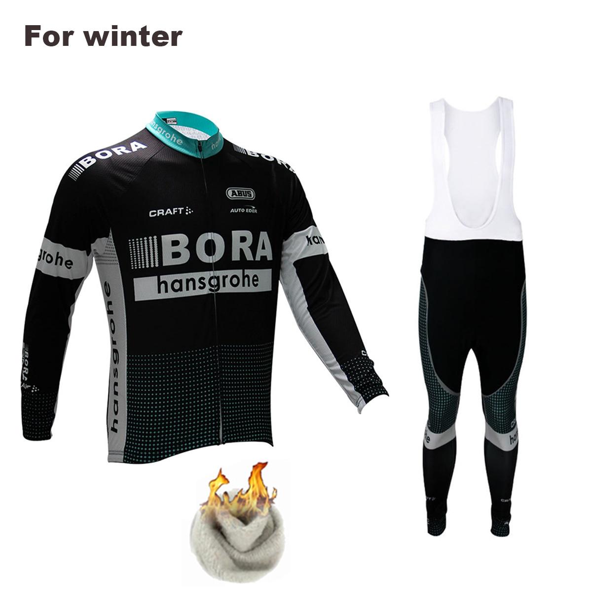 Бора-2017 команда зимой тепловой флис Открытый спортивные пальто езда на велосипеде Джерси комплект нагрудник костюм с 9Д гель