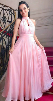Pretty Pink Evening Dress Keyhole Front Halter Prom Dresses Long Pleated Floor Length Chiffon Women Formal Wear Dresses