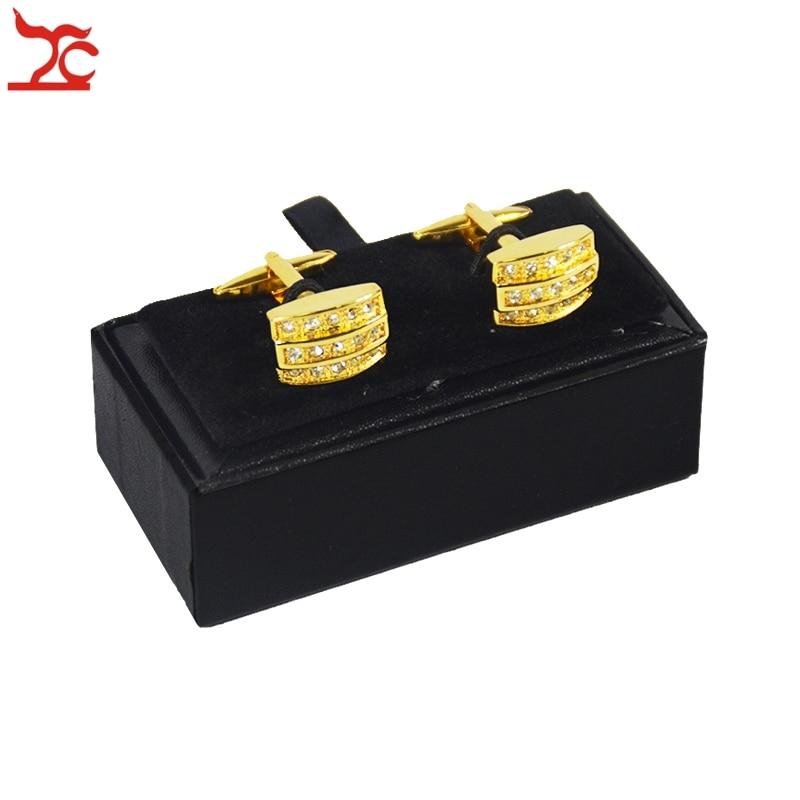 Wholesale 10Pcs Mens Black Cufflink Box Classicia Gift Jewelry Box Brand New Cufflink Package Cases Box 8x4x3cm Free Shipping