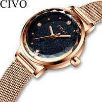 CIVO Fashion Luxury Watches Women Blue Face Quartz Watch Lady Mesh Watchband Casual Waterproof Wristwatches Gift For Wife 2019