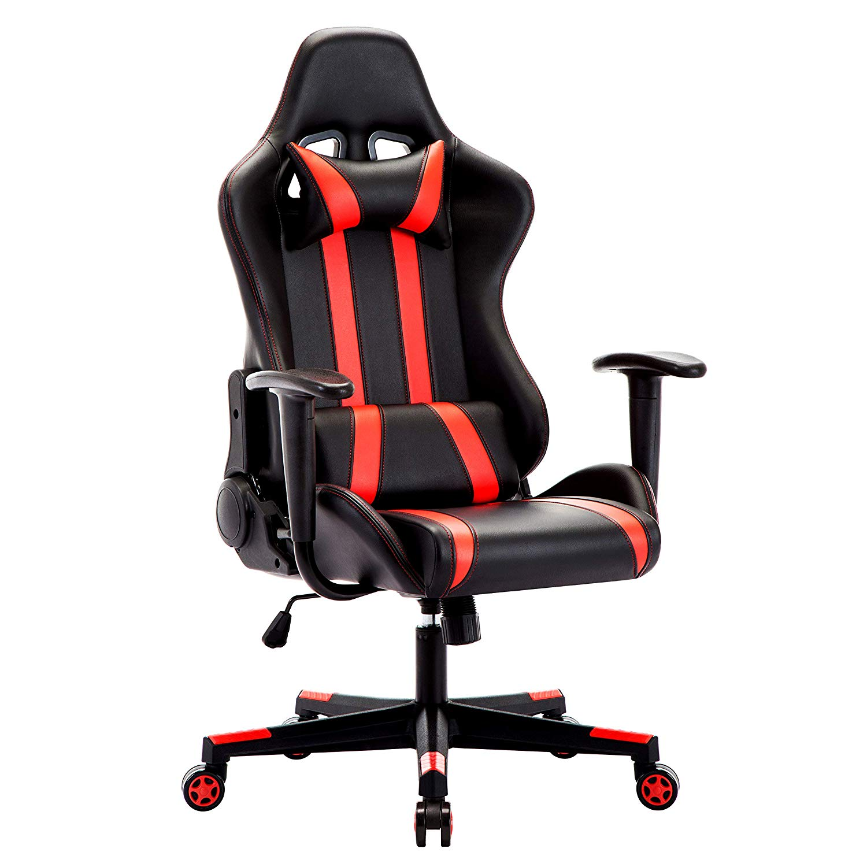Intime WM Herz Racing Executive Stuhl Computer Stuhl PU Gaming Stuhl mit Kopfstütze Lenden Kissen 135 Grad Liege