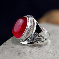 925 Sterling Silver Jewelry Vintage RIngs For Women Thai Silver Exaggerated Large Ruby Rings Natural Red Corundum Gemestone