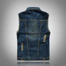 2019 New 80s Vintage Men Denim Vest Male Sleeveless cotton fashion Jackets Hole Jeans high-grade Brand Waistcoat plus size 6XL