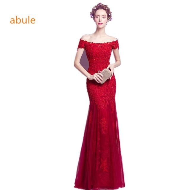 abule long Evening Dress 2017 Royal Red Burgundy Beads pearlsl lace Prom  Dress Party Gown Women vestido de festa free shipping fc595ec56fb4