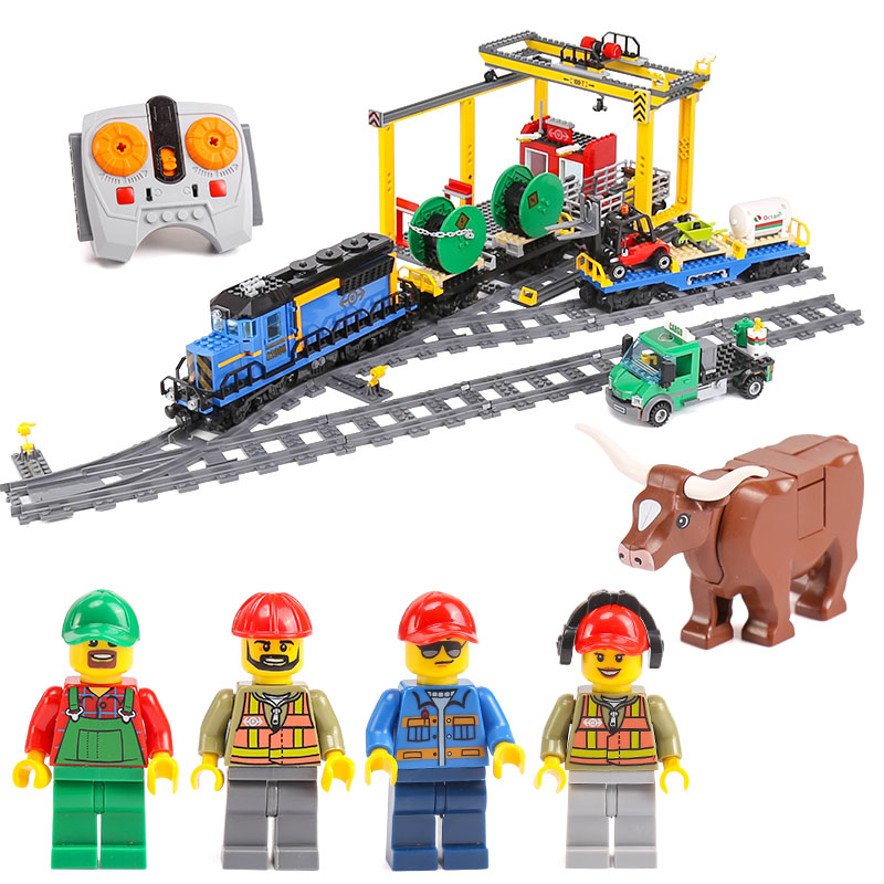 Lepin 02008 Genuine 959Pcs City Series Cargo Train legoing 60052 Building Blocks Bricks Educational Toys As Boy`s Christmas Gift lepin 02008 the cargo train 959pcs city series legoingly 60052 plate sets building nano blocks bricks toys for boy gift