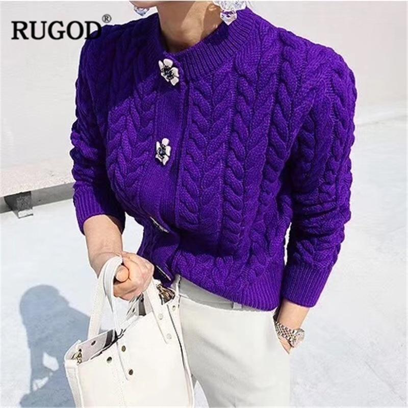 RUGOD mode femmes Cardigan décontracté à manches longues femmes chandail élégant haut pour femme chaud hiver vêtements chandails mode 2018 femmes