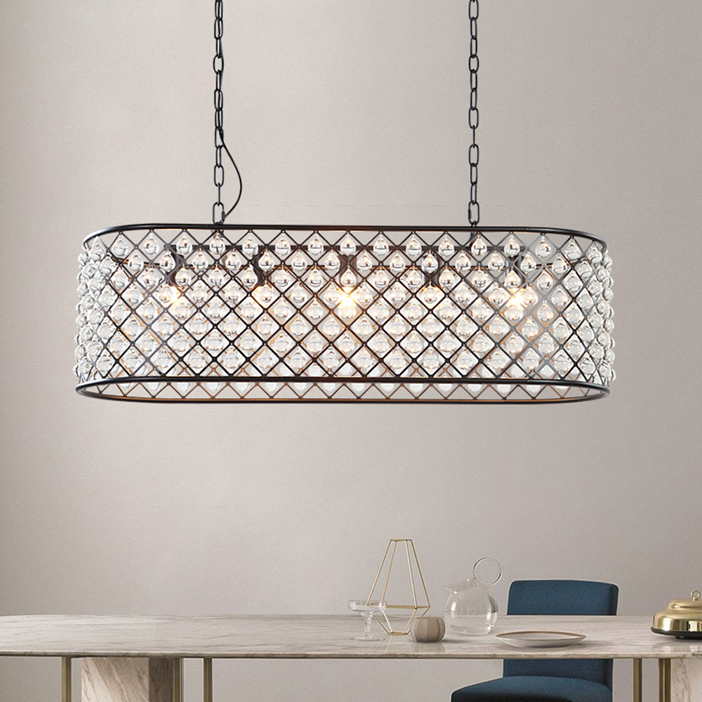 RH Crystal Pendant Lights Retro Industrial Restaurant Bar Pendant Lamps Bedroom Living room Indoor Handing E27 Luminaire Lampara цена 2017