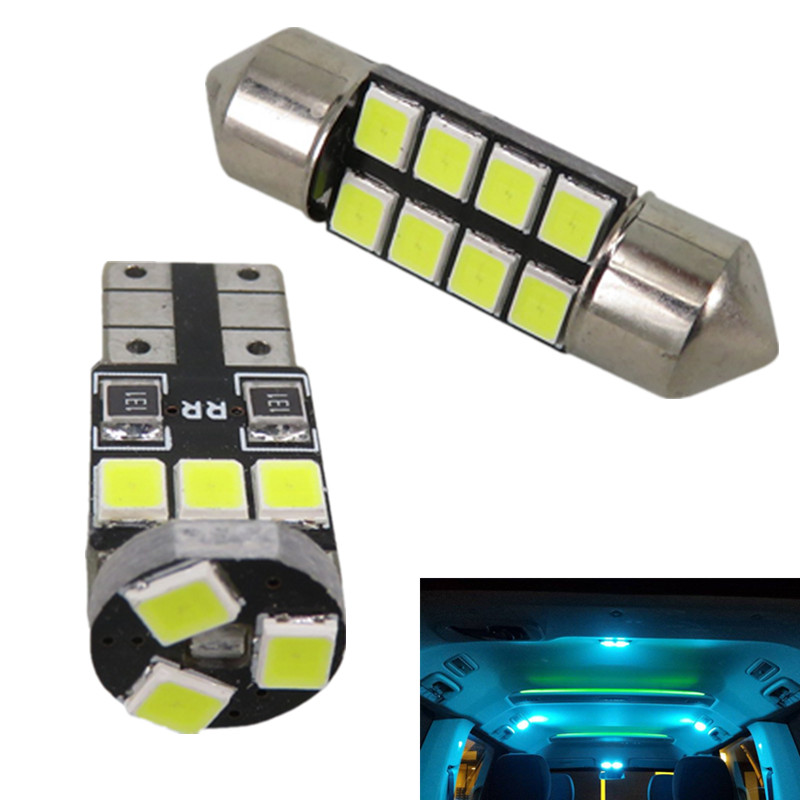 WLJH 6pcs DE3175 T10 Led Bulb 2835SMD Car Led Interior Light Package for Honda CR-V 1997 1998 1999 2000 2001 Pure White Ice Blue 2x dual color 42smd 2835 white ice blue