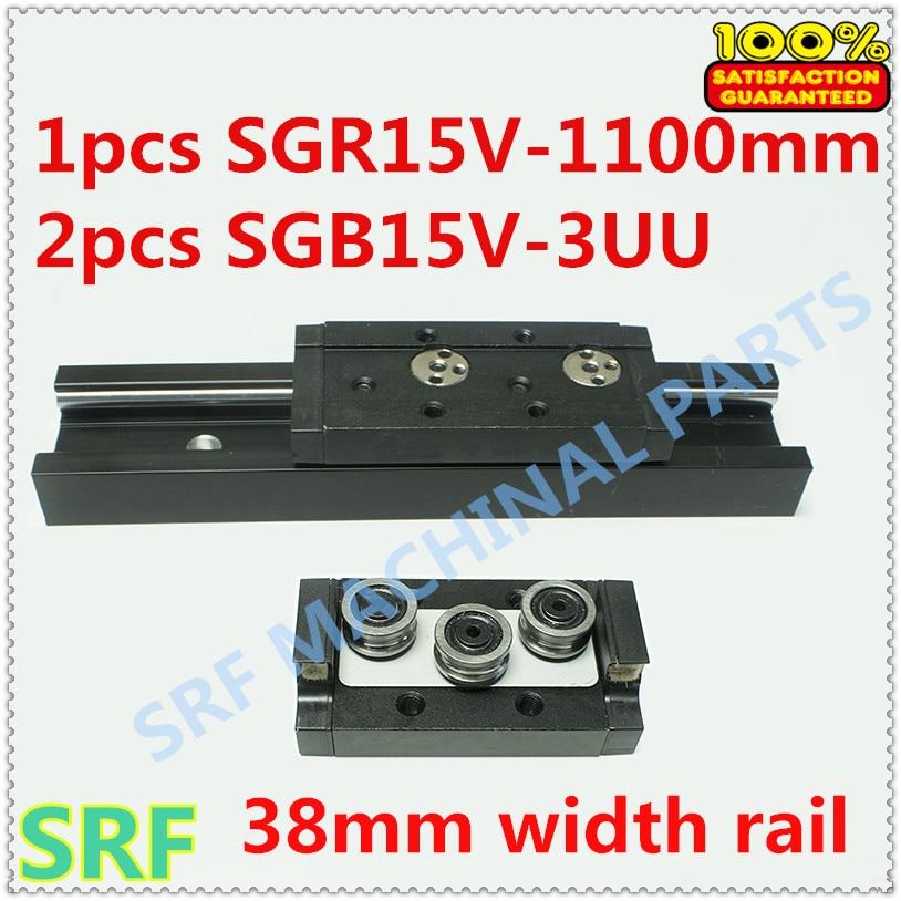 38mm width Aluminum Square Roller Linear Guide Rail 1pcs SGR15V Length=1000mm +2pcs SGB15V-3UU three wheel slide block high quality 15mm width precision linear guide rail 1pcs trh15 length 700mm 2pcs trh15b square linear block for cnc