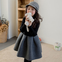 2018 Autumn Winter Dress For Girls 12 To 14 Years Patchwork Cotton Long Sleeve A Line