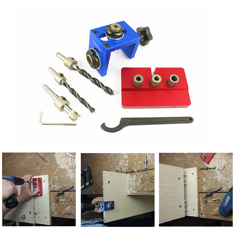 Pocket Hole Jig Kit Step Drilling Dowelling Jig Set Carpentry Wood Dowel Drilling Guide Locator Tool Gauge Fixed Clamps Tools
