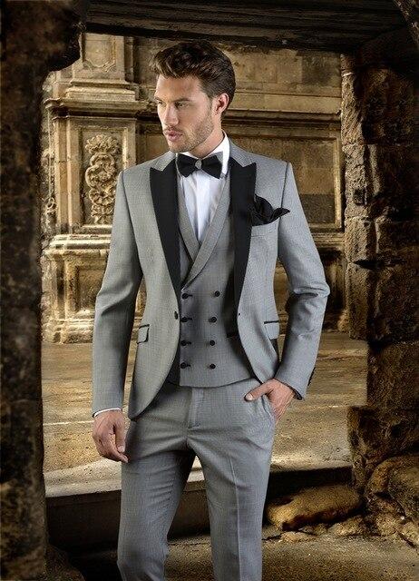 2017 Simple Fashion Grey Men Suit Slim Fit Prom Wedding Party Tuxedo Custom Made Modern Blazer