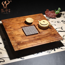Genuine bamboo heavy bamboo tea tray bucket high low-end gift tea custom purple tea set mixed batch