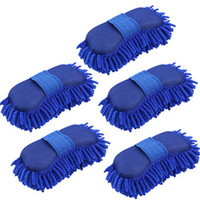 5 Pcs Auto Car Sponge Washing Gloves Brush Chenille Cleaner Accessories With Elastic Band Supporting Car