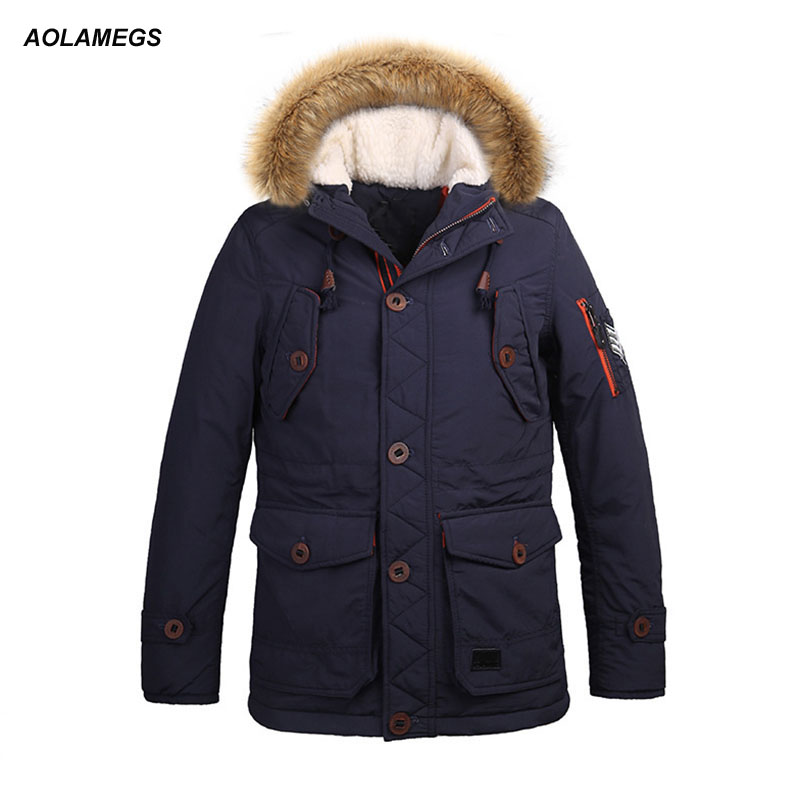 Aolamegs Winter Jacket Men Hooded Fur Collar Thick Warm Coat Fashion Street Style Cotton Padded Jackets