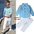 2017 Spring/autumn Boys Stripe Clothing Set Cotton Long-sleeved Shirts+white Pant+belt Three Pieces Kids Casual Clothing Set