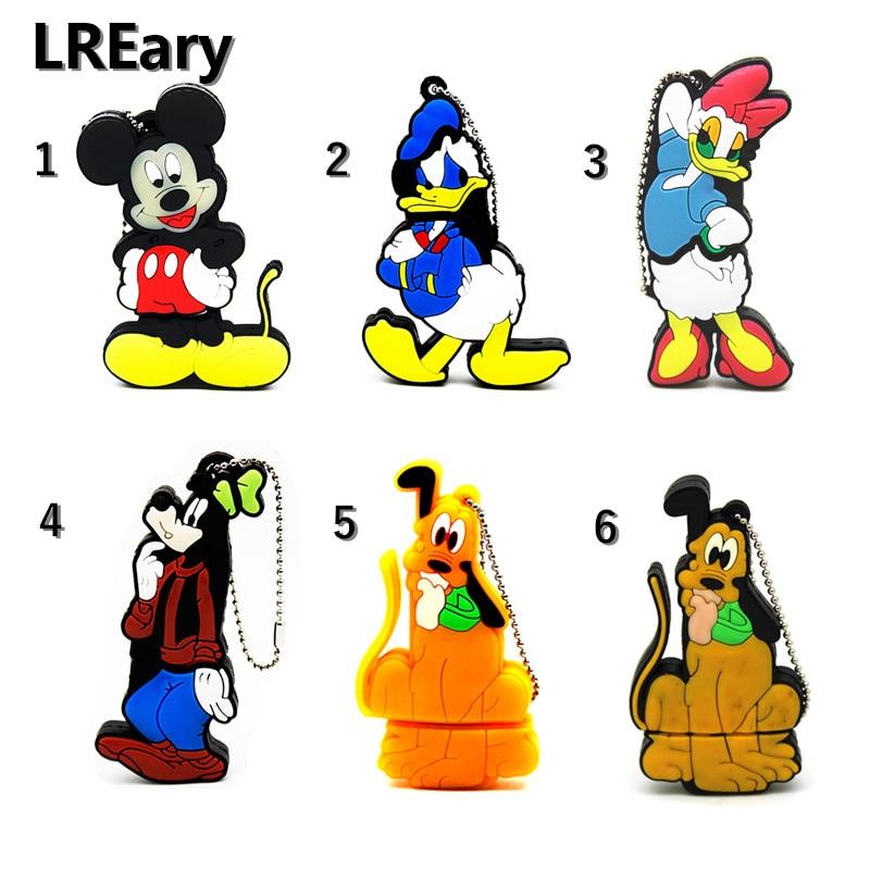 Cartoon Lovely Mickey Usb 2.0 Flash Drive Goofy Dog Pendrive 4GB 8GB 16GB 32GB Memory Stick Thumb Drive Donald Duck Pen Drive