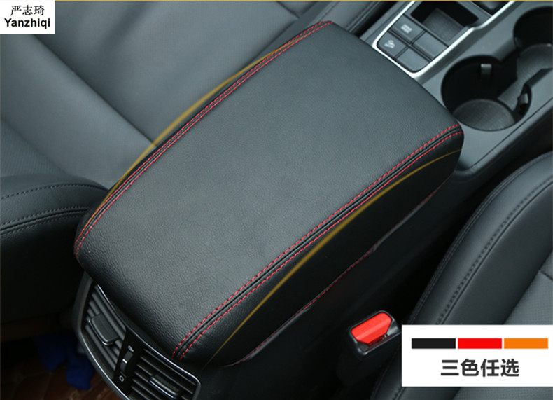 Microfiber leather Armrest Console Pad Cover Cushion Support Box Armrest Top <font><b>Mat</b></font> Liner for Hyundai Tucson image