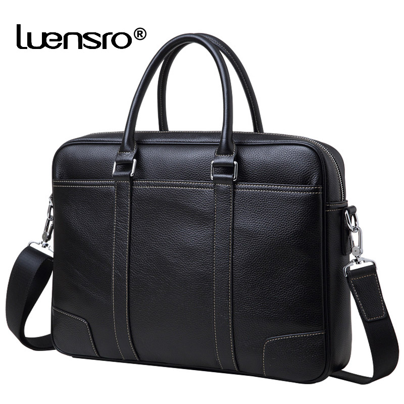 100% Genuine Leather Men's Briefcases Laptop Handbag Cowhide Men Business Crossbody Bag Messenger Shoulder Bags For Men Bag