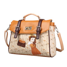 Lovely Cartoon Fashion font b Handbag b font Twist Lock Belt Buckle Flap Bag Pretty Girl