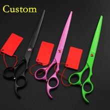 Custom high grade japan 440c 8'' Pet dog grooming hair scissors Animals cutting barber scissor shears tool hairdressing scissors