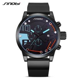SINOBI Men Sport Chronograph Silicone Watch Waterproof Top Brand Luxury Men's Watches Fashion Casual Quartz Relogio Masculino