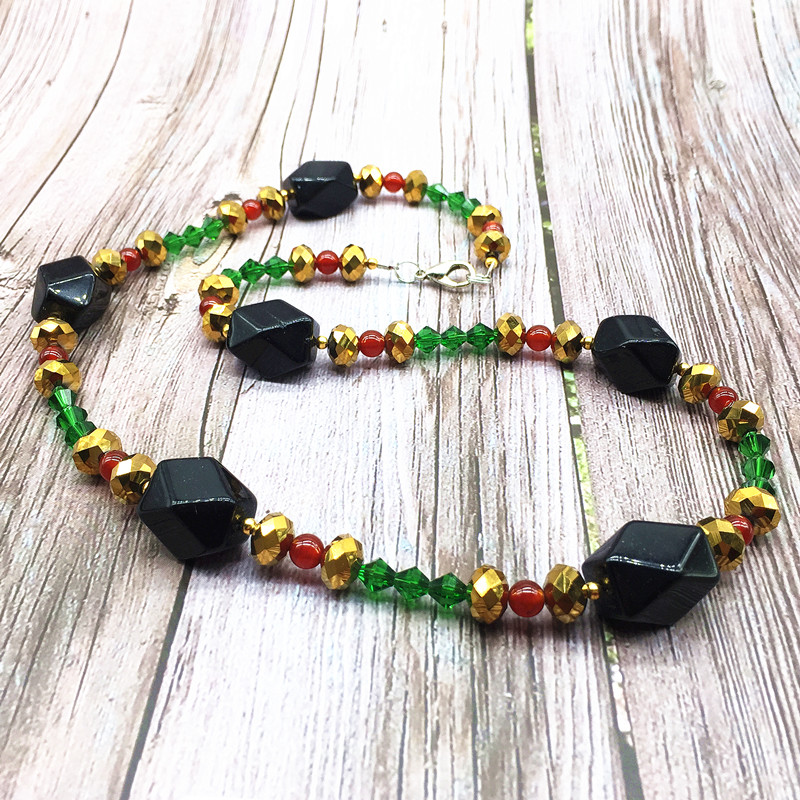 Bohemia Style Women Fashion Necklace Nature Black Onyx Crystal Bead Jewelry Girls Gift Red Choker Necklaces in Choker Necklaces from Jewelry Accessories