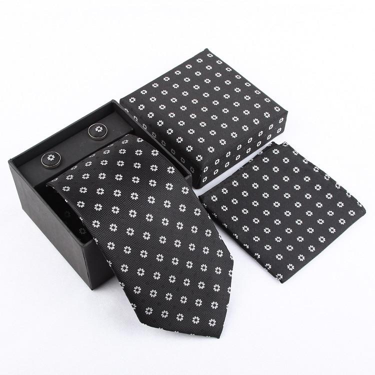 Набор галстуков галстуки Запонки Галстуки для мужчин квадранные Карманные Платки свадебный подарок - Цвет: 23