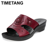 TIMETANG Summer Leather Fashion Woman Slippers Female Casual Slope Thick Bottom Slip Mother Slippers Ladies Soft
