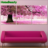 Triptych Painting Calligraphy For Living Room Diy Pictures By Numbers Acrylic Drawing Coloring By Number Cherry