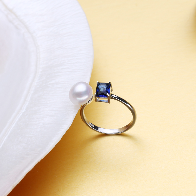 FENASY 2018 new Created Blue party ring,Wedding and Engagement Rings For women,female pearl ring vintage jewelry
