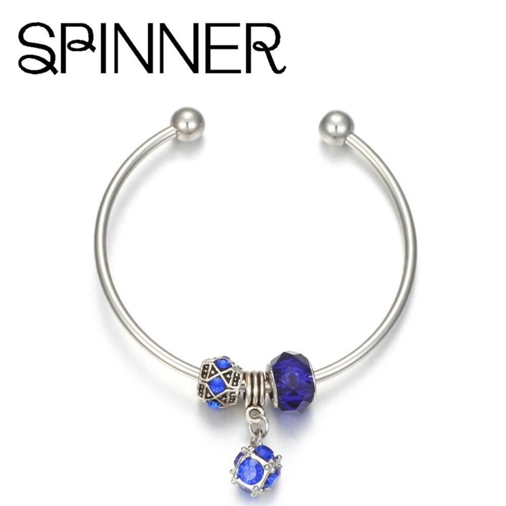 HOMOD Adjustable Charm Bangle with Crystal Pendant fit European Charm Bracelets Jewelry for Gift Jewelry пандора браслет с шармами