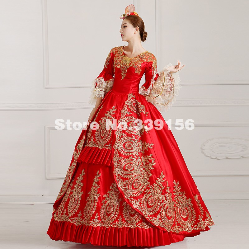 High Quality Red Embroidery Women Party Dress Elegant Victorian Marie Antoinette Ball Gowns Costume