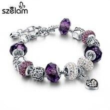 Szelam Gift!!! Fashion DIY Crystal&Glass Beads Charm Bracelets For Women Snake Chain Bracelets & Bangles Pulsera SBR150056
