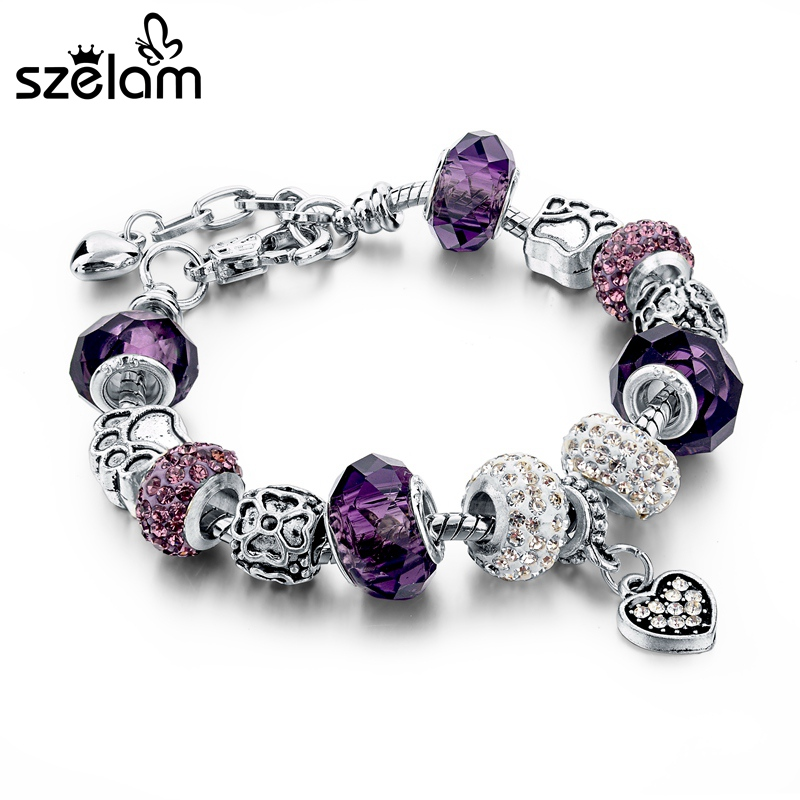 Szelam Նվեր !!! Նորաձևություն DIY Crystal & Glass Beads Charm Ապարանջաններ կանանց համար օձի ցանցի Ապարանջաններ և փուչիկներ Pulsera SBR150056