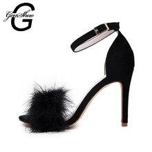 Genshuo/Новинка 2017 года женщин 10 см/3.94 inch Мода натуральный мех лодыжки Strapy босоножки на высоком каблуке Женская обувь летние туфли сандалии с мехом