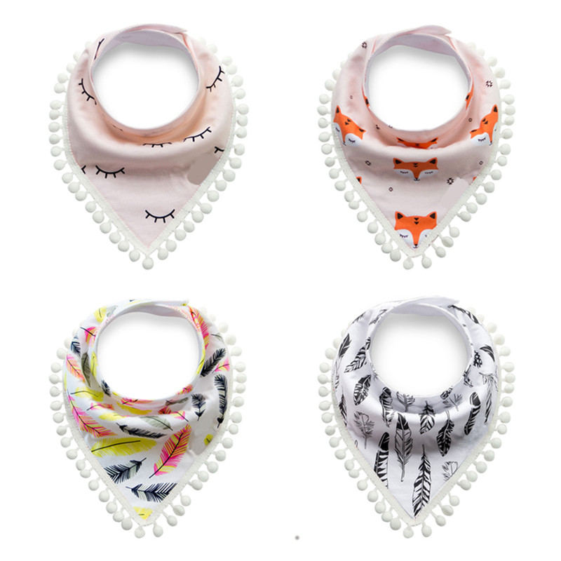 1pc Cotton Tassel Baby Bibs Infant Bandana Babador Baby Feeding Bibs Toddler Burp Cloths Newborn Scarf Baby Clothes Accessories cotton newborn baby bibs cute feeding bib baby nursing bandana burp cloth for girls and boys double side baby scarf
