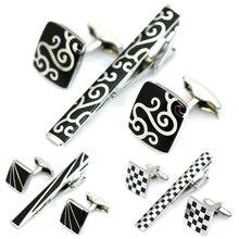Tie Clip and Cufflinks Set For Men Classic Meter Tie Clips Cufflink Set Copper Tie Bar Quality Enamel Tie Collar Pin Crystal