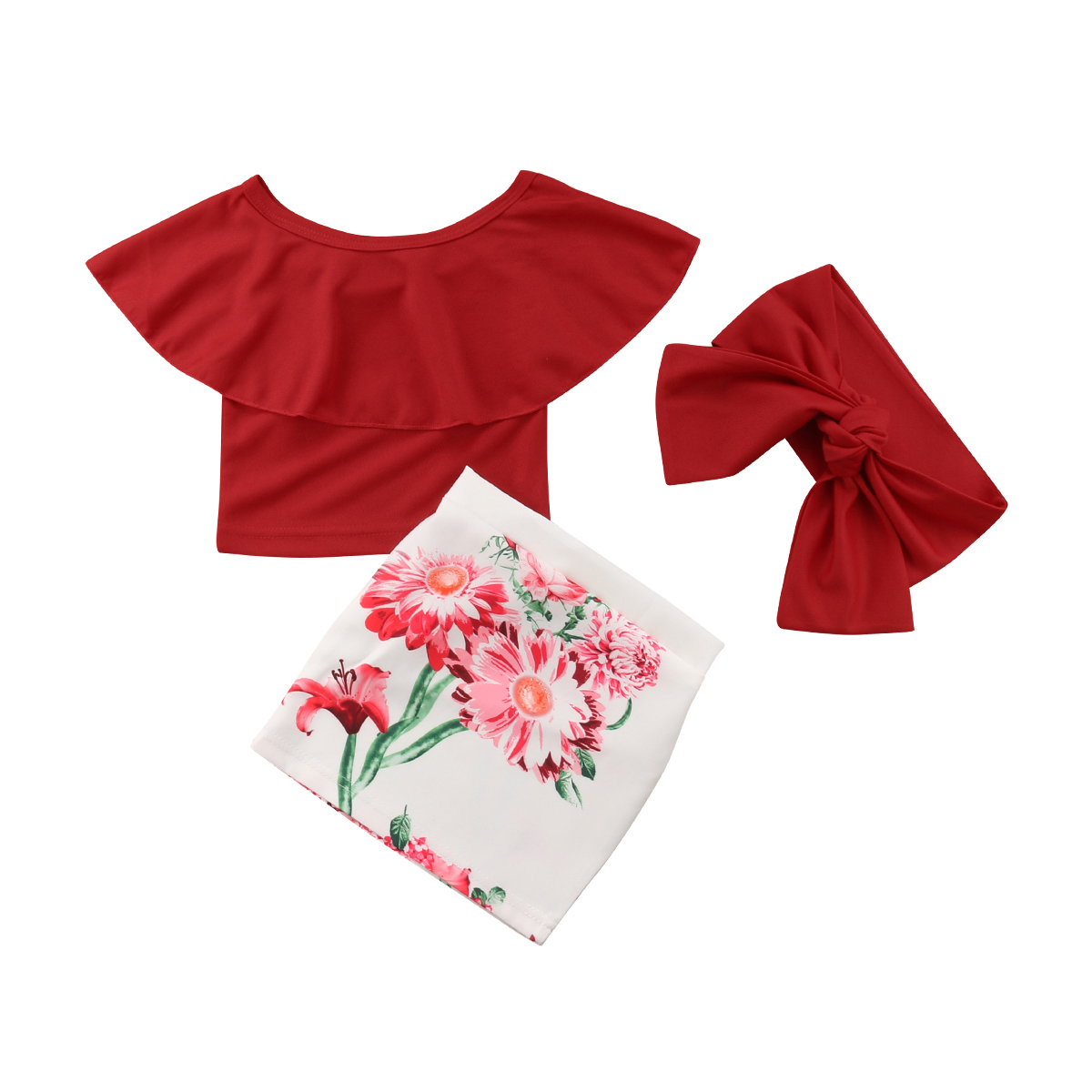 Kid Baby Girls Red Off Shoulder Tops Flower Skirts Headband Outfit Clothes Set Summer 1-6Y