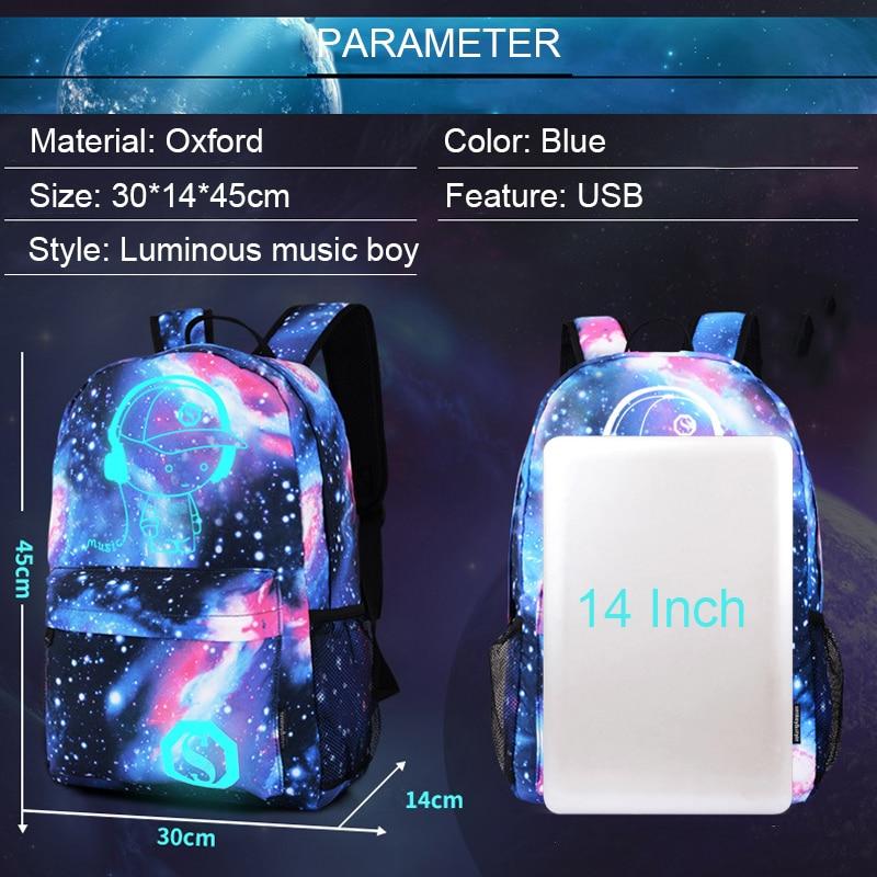 Uomini Viaggio Luminose Da Ragazzo Del Scuola Di Zaino Anti Usb Computer Blu Degli Zaini Blue Stelle Portatile Casual Backpack Mochila Borse Musica furto dEwUIqx